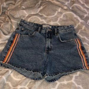 High waisted jean shorts with colored stripes